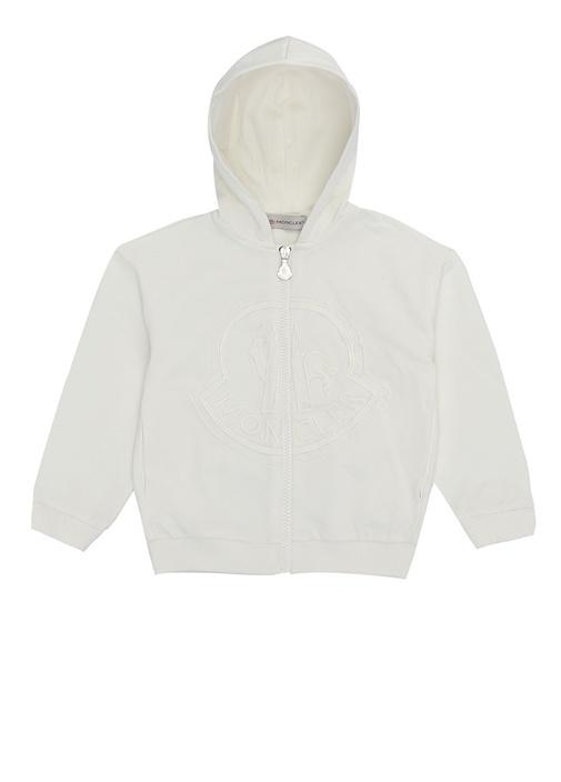 Beyaz Kapüşonlu Fermuarlı Kız Çocuk Sweatshirt