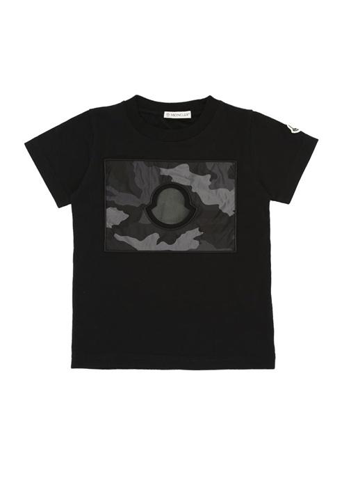 Siyah Kamuflajlı Logo Baskılı Erkek Çocuk T-shirt