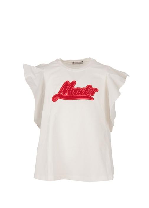 Beyaz Logo İşlemeli Volanlı Kız Çocuk T-shirt