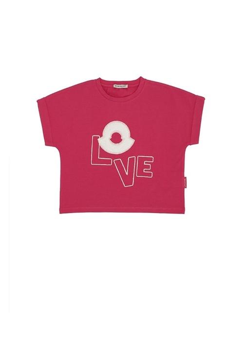 da50f91143d2b Moncler Fuşya KIDS Pembe Logolu Yazı Nakışlı Kız Çocuk T-shirt ...