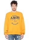 Sarı Bisiklet Yaka Yıpratmalı Logolu Sweatshirt