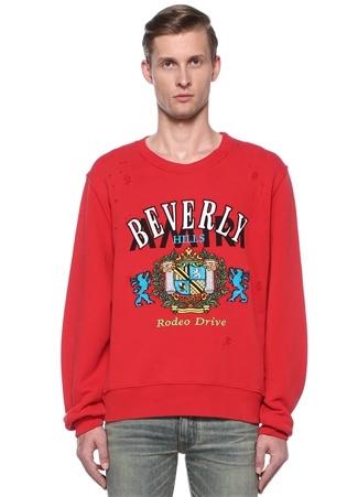 Beverly Kırmızı Yıpratma Detaylı Sweatshirt