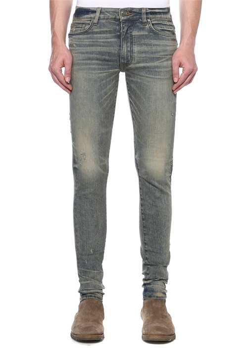 Stack Mavi Normal Bel Yıpratmalı Jean Pantolon