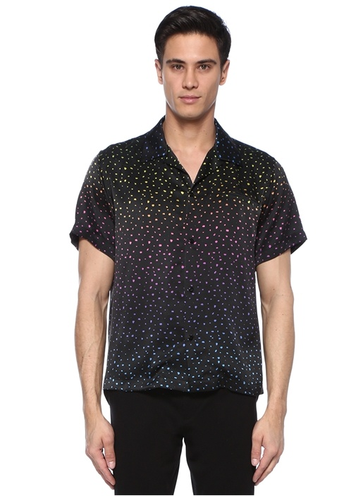 Dotted Siyah Kamp Yaka Desenli İpek T-shirt