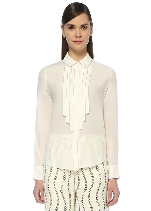Amika Beyaz Zincir Şeritli Pileli İpek Gömlek