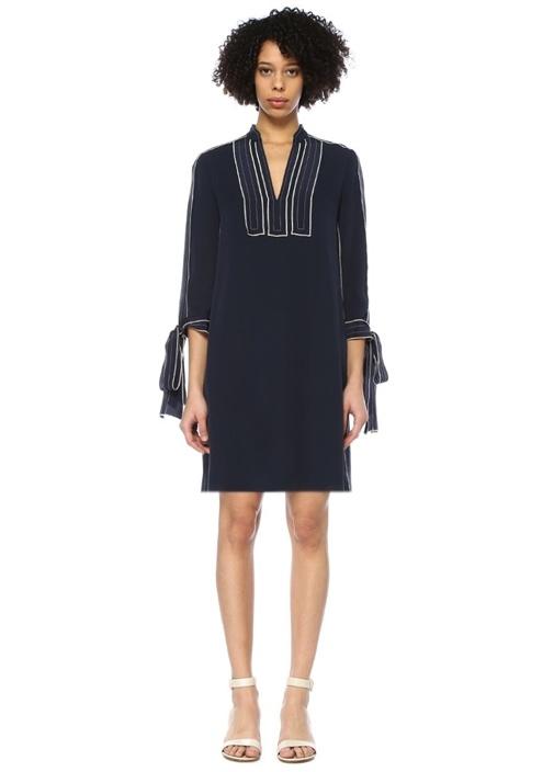 Lacivert Kontrast Çizgili Mini İpek Tunik Elbise