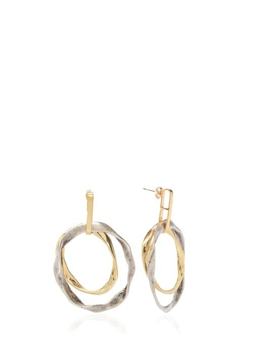 Gold Silver Çift Renkli Kadın Halka Küpe