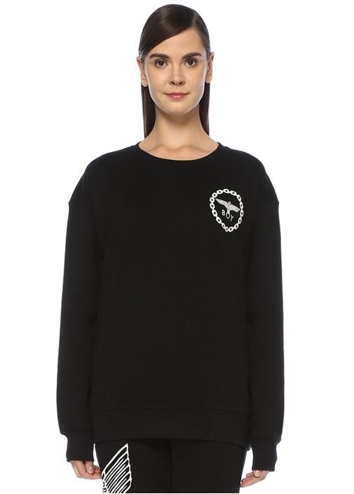 Boy Eagle Siyah Beyaz Baskılı Oversize Sweatshirt