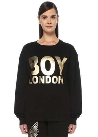 Boy London Kadın Siyah Gold Baskılı Oversize Sweatshirt M EU