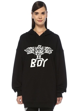 Boy London Kadın Tape Eagle Siyah Kapüşonlu Oversize Sweatshirt M EU