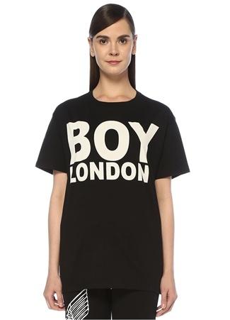 Boy London Kadın Siyah Beyaz Baskılı OversizeT-shirt XS EU