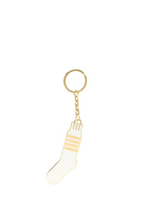 Beyaz Gold Çorap Formlu Anahtarlık