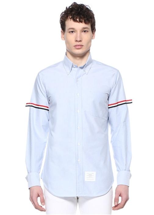 Mavi Düğmeli Yaka Kolu Şeritli Oxford Gömlek