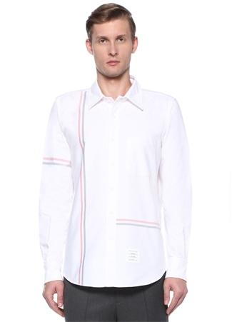 Erkek Straight Fit Beyaz İngiliz Yaka ŞeritliGömlek 3 US