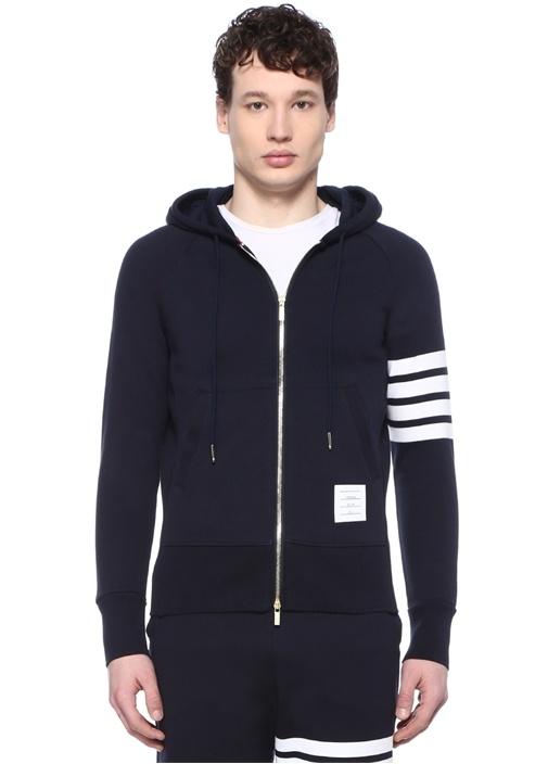 Lacivert Kapüşonlu Kolu Şeritli Sweatshirt