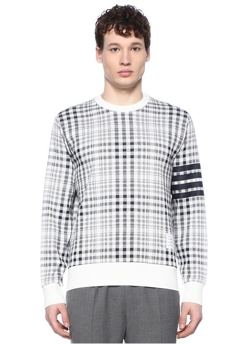 Lacivert Beyaz Kareli Kolu Şeritli Sweatshirt