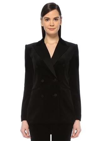 Tuxedo Siyah Kırlangıç Yaka Kruvaze Kadife Ceket