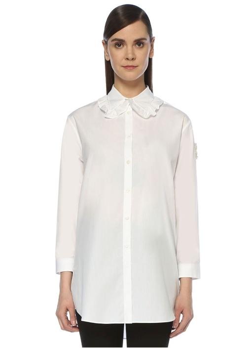 4 Moncler Simone Rocha Beyaz Balon Kol Gömlek