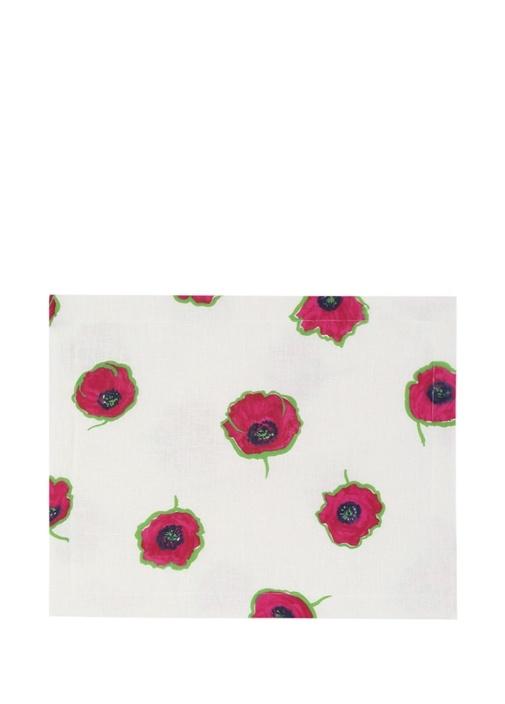 Beyaz Çiçek Desenli 2li Keten Amerikan Servis