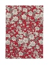 Lilium Kırmızı Çiçek Desenli Keten MasaÖrtüsü