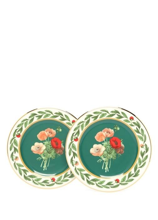 Poise Yeşil Çiçek Baskılı 2li Seramik Tatlı Tabağı