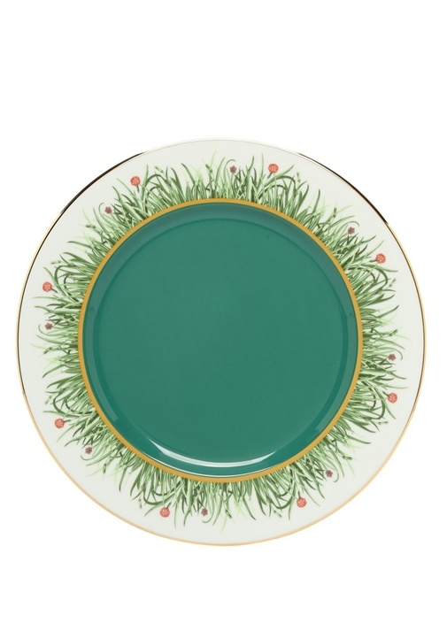Charger Yeşil Çiçek Desenli Seramik Supla
