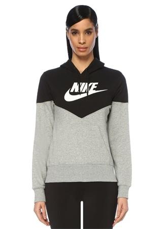 2ee494a0ccb67 Nike Kadın NSW Heritage Gri Siyah Kapüşonlu Sweatshirt M EU