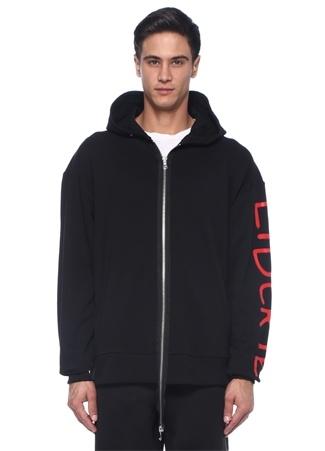 Siyah Kapüşonlu Garnili Baskılı Sweatshirt