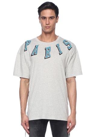 Gri Melanj Yakası Kabartmalı Baskılı Basic T-shirt