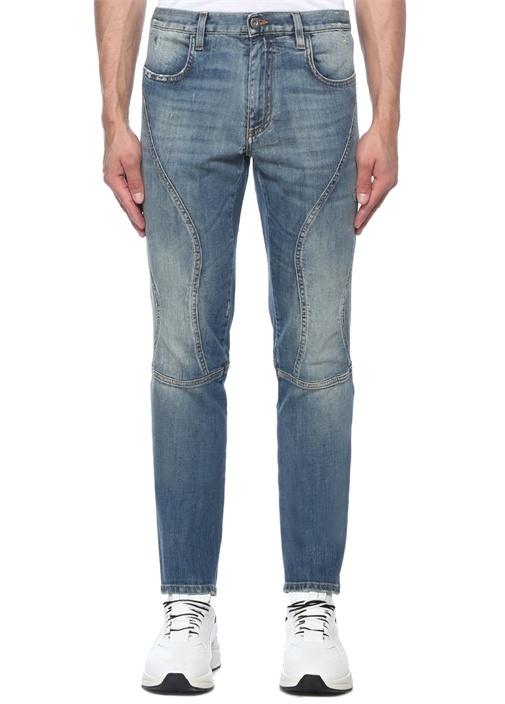 Mavi Yıpratma Detaylı Dar Paça Jean Pantolon