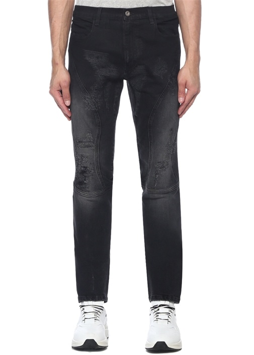 Siyah Yıpratma Detaylı Jean Pantolon