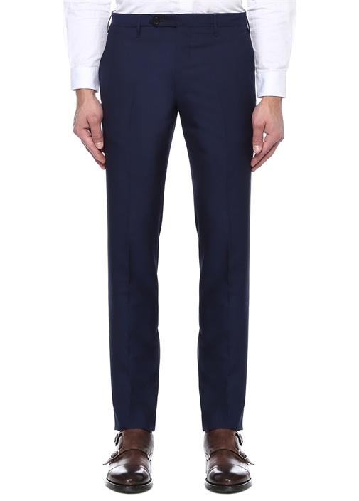 Lacivert Normal Bel Dar Paça Yün Pantolon