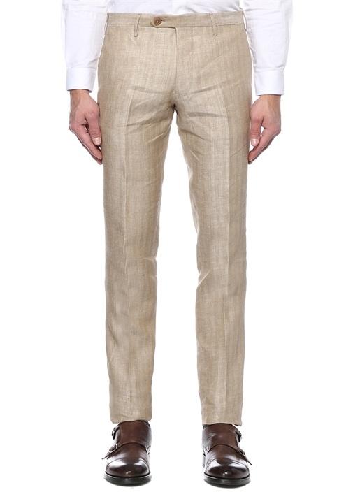 Bej Normal Bel Dar Paça Desenli Keten Pantolon