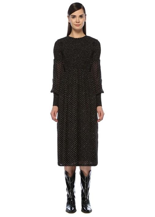 Siyah Çiçekli Büzgü Detaylı Uzun Kol Midi Elbise