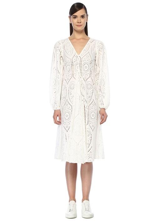 Beyaz Midi Boy Güpür Elbise
