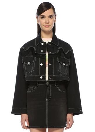 Siyah Püskül Detaylı Denim Ceket
