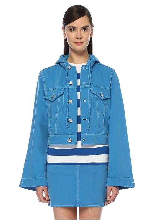 Mavi Kapüşonlu Denim Ceket