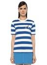 Mavi Beyaz Çizgili Nakışlı T-shirt