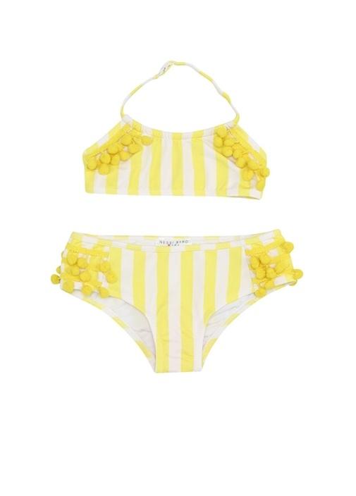 Mimosa Sarı Beyaz Ponponlu Kız Çocuk Bikini