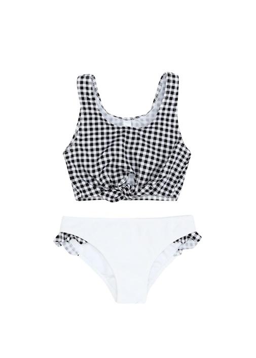 Yucca Siyah Beyaz Bağlama Detaylı Kız Çocuk Bikini