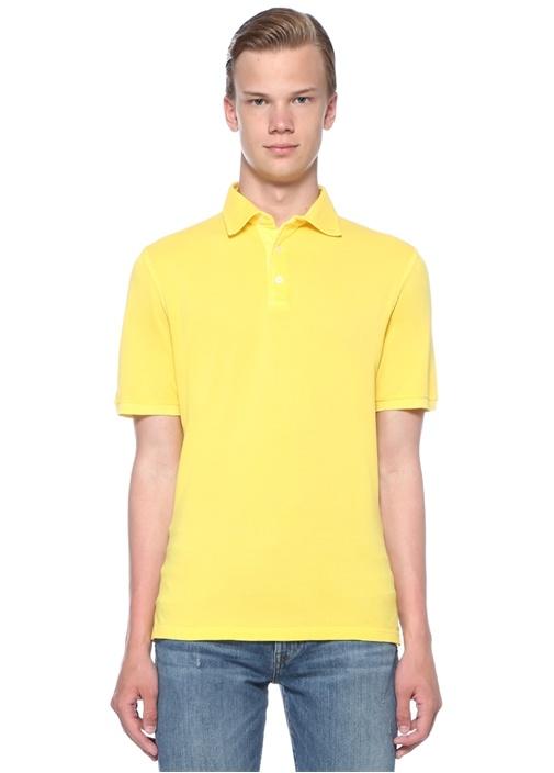 North Sarı Polo Yaka Dokulu T-shirt