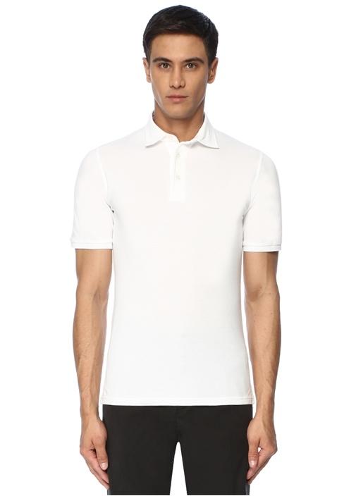 North Beyaz Polo Yaka Dokulu T-shirt