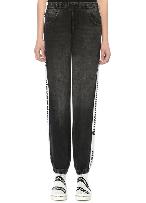 Gri Yüksek Bel Logo Şeritli Oversize Jean Pantolon