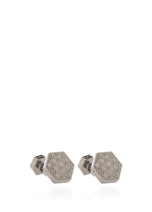 Silver Geometrik Formlu Dokulu Erkek Kol Düğmesi