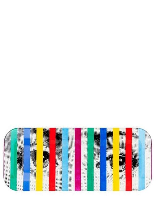 Colorblocked Göz Baskılı Şerit Detaylı Tepsi