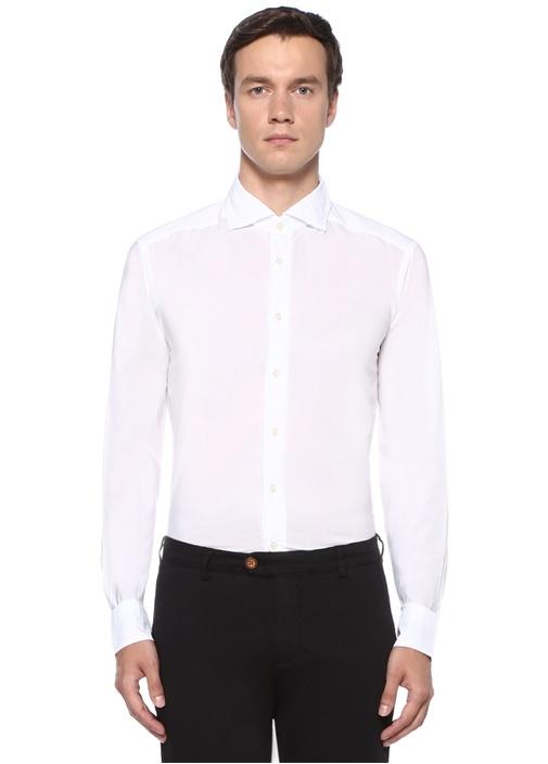 Slim Fit Beyaz Kesik Yaka Gömlek