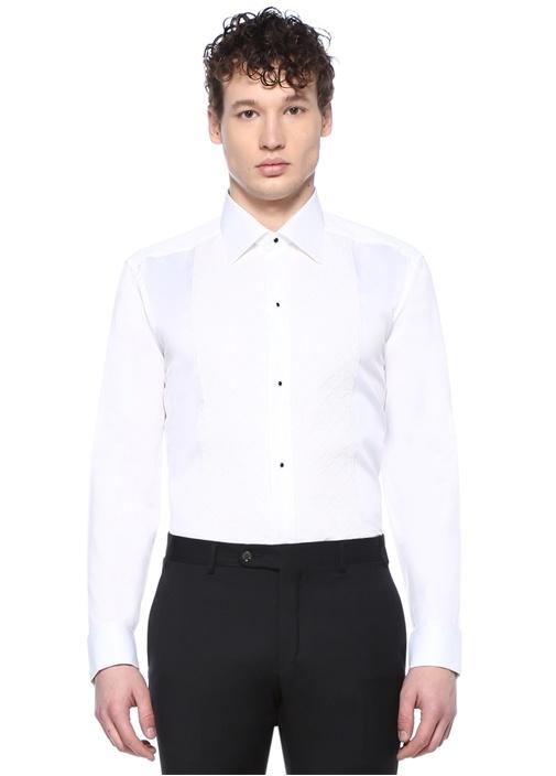 Slim Fit Beyaz İngiliz Yaka Garnili Smokin Gömleği