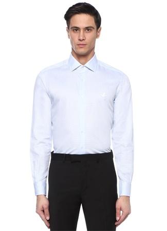 Erkek Comfort Fit Mavi Mikro Desenli İngiliz Yaka Gömlek XL EU