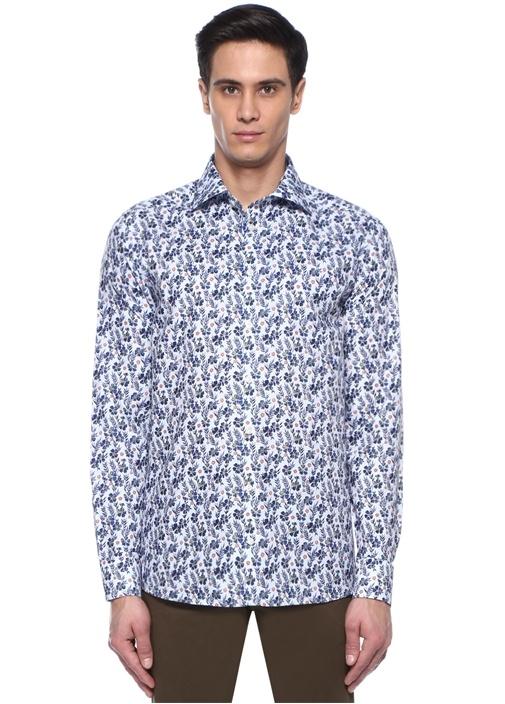 Slim Fit Mavi İngiliz Yaka Çiçek Desenli Gömlek