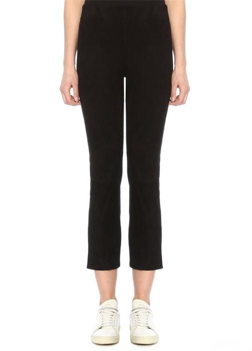 Siyah Yırtmaçlı Crop Streç Süet Pantolon